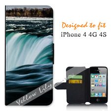 Apple iPhone 4 4G 4S Wallet Flip Phone Case Cover Amazing Water Y00942