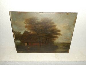 19th century oil painting +- 1830,{ Farmhouse near the river, is signed }.