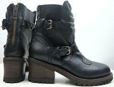 ASH Damen Stiefeletten Biker Boots Plateau Stiefel Leder Schuhe Black Gr.40 NEU