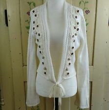 Together Short Cardigan Womens M (12) Cream Tie Front Jewel Embellished Cotton