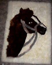 Alpaca Fur Wall-Hanging/Rug Horse Head Figure Browns Grays White Handmade