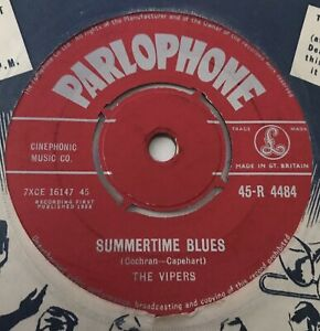"""THE VIPERS - 1958 - """"SUMMERTIME BLUES"""" - Parlophone - R4484 - *EX*"""