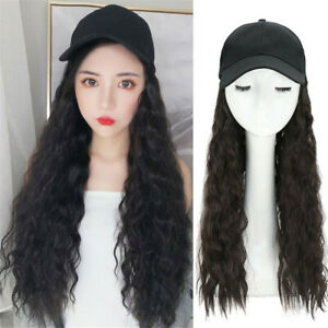Baseball Cap Hat Wigs Water Wave Curly Hair Wigs Casquette Summer Outdoors Hat