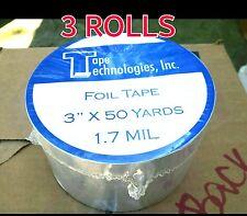 "(3 Rolls) HVAC Tape Technologies Aluminum Foil Tape 3"" x 1.7 MIL x 150 ft each"