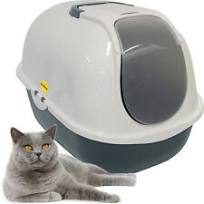 Large Cat Litter Tray Dark Grey & White + Charcoal Filter Box Hooded CatCentre®