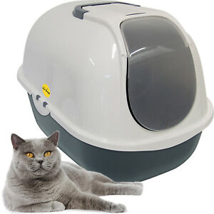 CatCentre® Large Cat Litter Tray Dark Grey & White + Charcoal Filter Box Hooded
