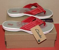 Clarks Collection Soft Cushion Flip Flop RED Size 11 Thong Sandal NEW