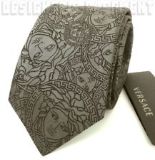 VERSACE Pewter gray with black MEDUSA head Circles silk Twill MENS tie NWT Auth