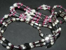 Pearl, Hematite Bead, And Magnet Necklace Vintage Estate Lot Of Two Faux