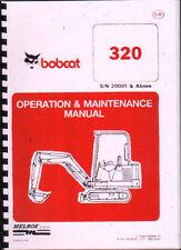 "Bobcat ""320"" Minidigger Operation and Maintenance Manual Parts Book."