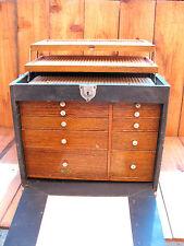 Antique National Cabinet Co Quarter Sawn Oak Drawer Fronts Leather Handle I Cove