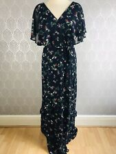 Dorothy Perkins Blue Floral Long Dress Size 14 Belt Short Sleeve