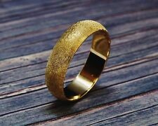 6mm Hand Crafted Florentine Finish Half Round 14k Yellow Gold Men's Wedding Band