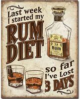 Rum Diet Metal Tin Sign Humor Funny Garage Man Cave Bar Home Wall Decor New