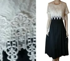 Vntg NEW OLD STOCK Icicle Bodice Gown WHITE LACE w BLACK CREPE Swishy Bust 37