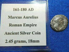 161-180AD Marcus Aurelius Roman Empire Ancient Silver Coin, 2.45 grams, 18mm