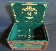VINTAGE TRAMP ART BOX MILITARY very good condition gilded application toleware