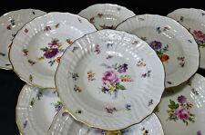 10 Antique Meissen Plates, Floral