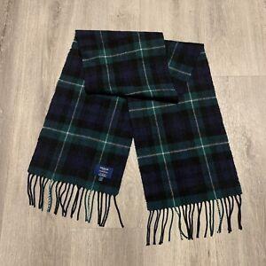 Edinburgh 100% Cashmere Green Check Plaid Scarf.