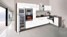 Küchenzeile Küche Winkelküche L-Form Küche Eiche York weiß 370x172cm respekta
