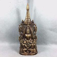 """12"""" Bucha Statue Thai Buddha Buddhism Amulet Talisman Brass Collectible Decor"""