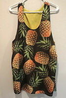 Ryde Out Mesh Summer Reversible Tank Mens Black Yellow Pineapples *measured