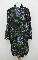 HOBBS Ladies Navy Blue Multicolour Floral Marianne Shirt Dress Size UK12 NEW