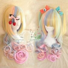 Hot Sell!!! Harajuku rainbow ice cream long curly Lolita cosplay wig R.1075