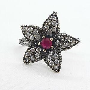Deco .65ctw Ruby & Diamond Cut White Sapphire 14K Yellow Gold 925 Silver Ring