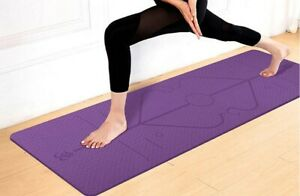 TPE Yoga Mat Non-Slip Position Lines Waterproof & Carrying Strap, Eco Friendly