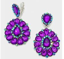 "3.25"" BiG Long Crystal Purple Rhinestone Bridal Earrings Drag Queen CLIP ON"