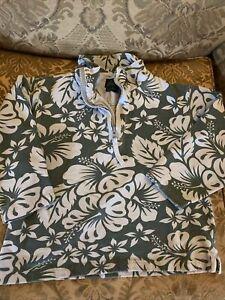 Mini Boden Boys Half Zip Pullover Green Light Blue Hibiscus Size 5/6