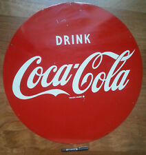 COCA-COLA insegna targa tonda genuine COKE enamel steel plate round table 50s