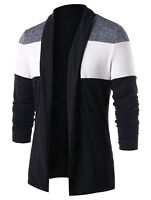 Mens Plain Knitted Cardigan Long Sleeve Casual Slim Fit Sweater Jacket Coat Tops