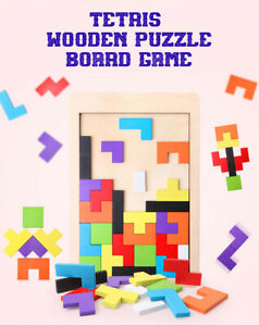 MODERN CLASSIC WOOD TETRIS BOARD GAME FOR TODDLER EDUCATION PROTECTIVE FINISH
