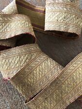 "Antique French c. 1860 heavy gold metallic passementerie braid trim (93"" x 1.5"")"
