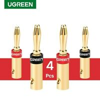 Ugreen 2 Pair/4 pcs Banana Plugs Closed Screws Connectors for Amplifiers,Speaker