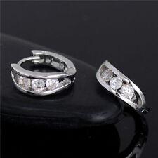 1 Pair Silver Plated Cubic Zirconia Hoop Earrings Huggie Ear Women Gift