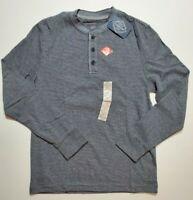 St Johns Bay Men's Gray Black Stripe Long Sleeve Henley Shirt S M L NWT FAST