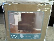 Pixel Stretch 1 Piece Slipcover Wing Chair, Chocolate