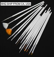 15pcs White Nail Art Gel Tips Painting Design Drawing Pen Polish Brush Set Kit