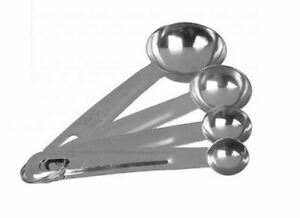 Set Of 4 Measuring Spoons Stainless Steel Kitchen Utensil Cooking Baking Tool