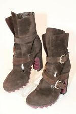 Jil Sander Womens Size 8.5 38.5 Suede Buckle Heeled Italy Made Ankle Boots