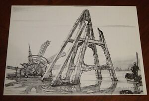 "Maritime Artist John A Noble Small Black & White 1971 Print ""THE AGE OF STEAM"""