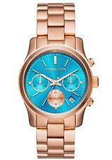 Michael Kors MK6164 Womens Runway Rose Gold Tone St Steel Blue Dial Chrono Watch
