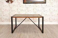 Small Industrial Dining Table Rustic Solid Wood Vintage Retro Style Kitchen Room