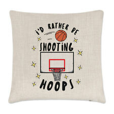 I'd Rather Be Shooting Hoops Linen Cushion Cover Pillow - Funny Basketball Sport