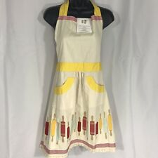 Martha Stewart Collection Apron Rolling Pins 2 Pocket Tie Yellow Red