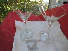 Pair of 2 CRYSTAL STEM CUT POLISHED  MARTINI  GLASS  VANDEVENTER BLACK LLP