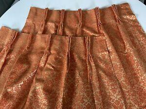 pair Of vintage brocade drapes pinch pleat curtains gold orange damask retro
